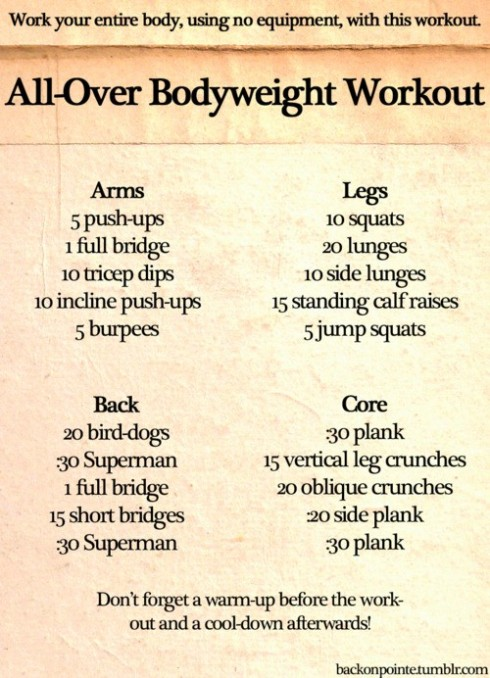 2 workout all over body weight