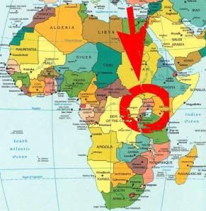 Oeganda kaart van Afrika